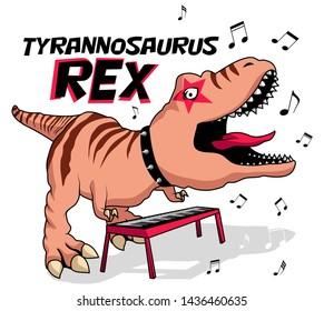Dinosaur is playing piano vector art