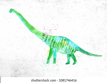 Dinosaur poster lettering brachiosaurus drawing with color, vivid paint on dirty paper background.