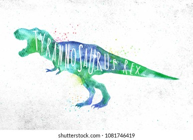 Dinosaur poster lettering tyranosaurus rex drawing with color, vivid paint on dirty paper background.