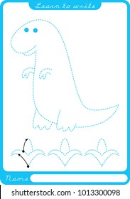 Dinosaur. Preschool worksheet for practicing fine motor skills - tracing dashed lines. Tracing Worksheet.  Illustration and vector outline - A4 paper ready to print.