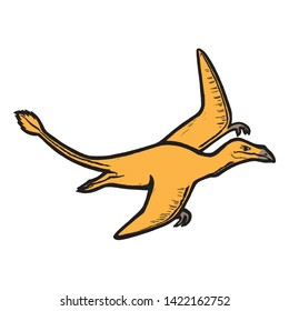 Dinosaur pterosaur. Vector illustration, design of wild animals, reptiles, for printing on fabric, clothing, printing, postcards. Cute baby background.