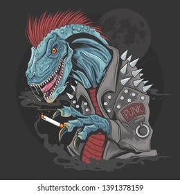 Dinosaur Punk Raptor t-rex element vector