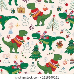 Dinosaur Rex christmas happy new year doodle seamless hand drawn vector pattern.