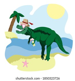 Dinosaur Rex is relaxing on the beach and drinking lemonade. Beautiful beach
