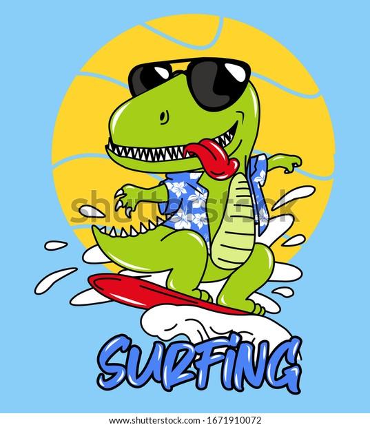 Vector De Stock Libre De Regalias Sobre Dinosaurios Rex Surf Mar 1671910072 ✅ te dejamos una larga lista para colorearlos e imprimirlos con guias y ¿cómo dibujar y colorear dibujos animados de dinosaurios infantiles? https www shutterstock com es image vector dinosaur rex surfing sea 1671910072