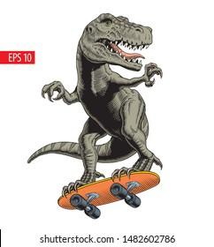 Dinosaur rides on skateboard. Comic style vector illustration.