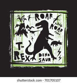 Dinosaur roar illustration, tee shirt graphics, vectors, typography