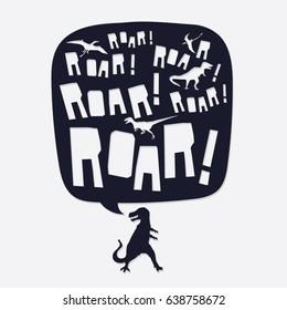 Dinosaur roar typography, tee shirt graphics, vectors