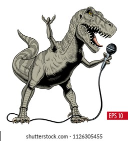 Dinosaur rock singer holding microphone. Tyrannosaurus or T. rex. Vector illustration.