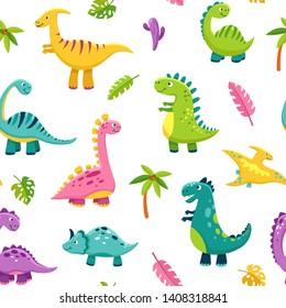 Dinosaur seamless pattern. Cartoon cute baby dino funny monsters jurassic wild animals dragon dinosaurs vector kids textile art