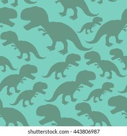 Dinosaur seamless pattern. Dino texture. Tyrannosaurus Rex Ornament. Prehistoric reptile. Animal Jurassic with big teeth. Aggressive beast. Terrible evil lizard Polynesian era