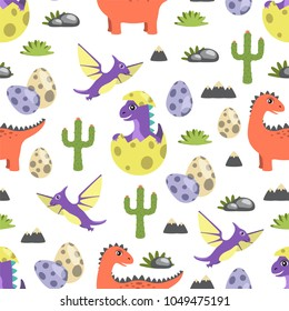 Dinosaur seamless pattern, dinosaurs and cacti egg with offspring, rock and grass, types of creatures vector illustration isolated on white background