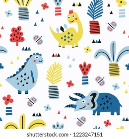 Dinosaur seamless pattern with plant elements. Vector illustration. Baby cloth design, wallpaper, wrapping.