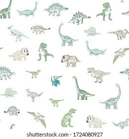 Dinosaur seamless vector doodle hand drawn pattern