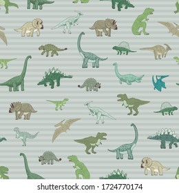 Dinosaur seamless vector doodle hand drawn pattern with striped background