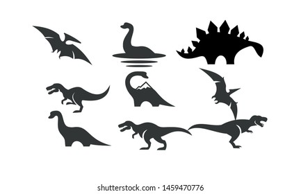 dinosaur set logo black icon design vector illustration