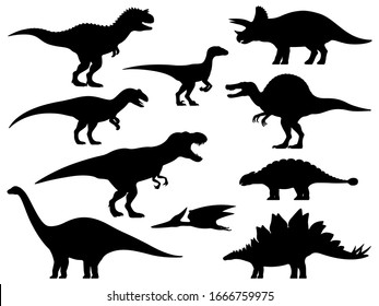 Dinosaur silhouette. Icon Jurassic Monsters T-rex Stegosaurus Triceratops Pterodactyl Spinosaurus Apatosaurus Allosaurus Carnotaurus Ankylosaurus Velociraptor. Vector group set of dino silhouettes.
