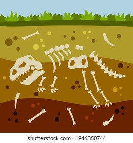Dinosaur skeleton. Bones of a prehistoric lizard. Flat cartoon landscape. Historical find and archaeological excavations. Land in the section. Soil with layers