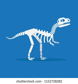 Dinosaur skeleton flat design vector illustration isolated on blue background. Tyrannosaurus rex skeleton icon.