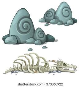 Dinosaur skeleton and fossil shells. Vector.