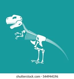 Dinosaur skeleton isolated. Remains of Tyrannosaurus. Skull T-Rex. Prehistoric monster. Ancient reptiles. Predator Jurassic