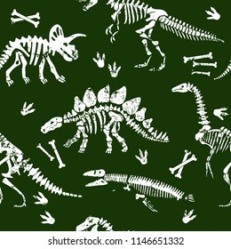 dinosaur skeleton seamless grunge pattern. Original design with t-rex, dinosaur. print for T-shirts, textiles, wrapping paper, web.