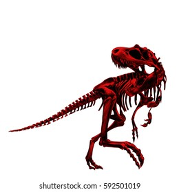 dinosaur skeleton Tyrannosaurus, painted a picture red bone , drawing, sketch, vector