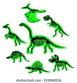 Dinosaur skeletons set, vector illustration