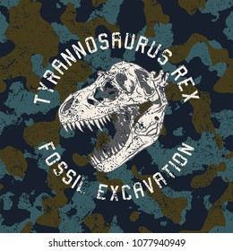 dinosaur skull graphic and camouflage seamless pattern