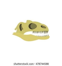 Dinosaur skull icon in flat style on a white background vector illustration