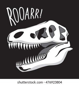Dinosaur skull illustration, typography, t-shirt graphics, vectors