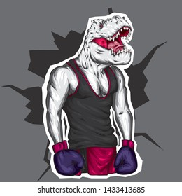 Dinosaur in sportswear and boxing gloves. Pumped up guy. Sportsman. Vector illustration for greeting card or poster. An athlete with a dinosaur head. Athletic man.