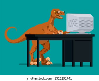 A dinosaur struggles to use a computer. Vector illustration, flat style drawing.