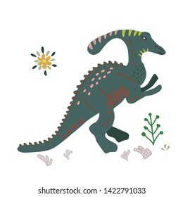 Dinosaur Suchomimus hand drawn flat illustration. Cute isolated cartoon character illustration. T-shirt, poster, vector, greeting card vector design. Vector