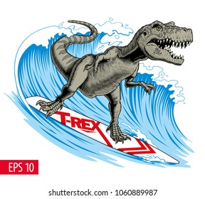 Dinosaur surfer ride the wave. Tyrannosaurus or T. rex on surfboard. Vector illustration.
