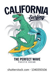 Dinosaur surfing vector illustration, for t-shirt prints, posters and other uses.