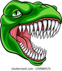 A dinosaur T Rex or raptor cartoon animal mascot