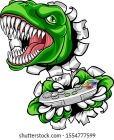 A dinosaur T Rex or raptor gamer player cartoon animal sports mascot holding a video game controller in its claw