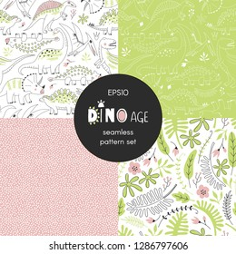 Dinosaur themed vector seamless background set includes cute dino reptiles, exotic leaves and flowers, geometric dots patterns, vector graphics, kids and baby summer textile tee shirt apparel print