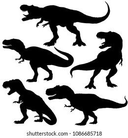 Dinosaur t-rex silhouettes set. Vector illustration isolated on white background