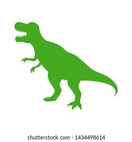 Dinosaur T-Rex vector silhouette. Roaring green tyrannosaurus silhouette isolated on white background.