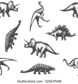 Dinosaur triceratops seamless pattern
