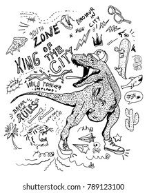 Dinosaur and type sketch print