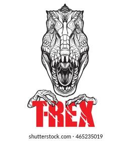 Dinosaur tyrannosaurus roaring head with t-rex sign