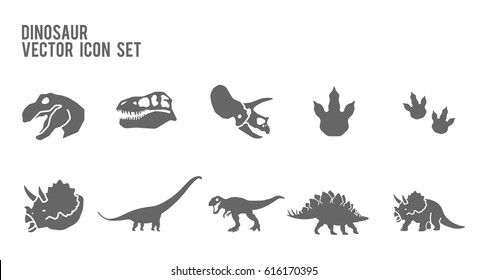 Dinosaur Vector Icon Set. Included the icons as footprint, trex, tyrannosaurus, triceratop, skeleton, stegosaurus, brachiosaurus and more.