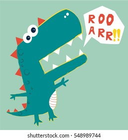 dinosaur vector illustration.T-shirt graphics for kids vector illustration
