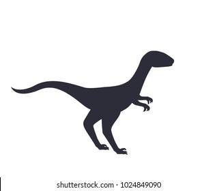 dinosaur, velociraptor silhouette isolated on white