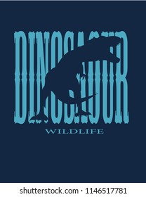 Dinosaur Wildlife Slogan Vector blue and indigo