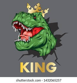 Dinosaur witj crown. Bright vector illustration. Cartoon reptile. Tyrannosaur. Print on clothes, drawing for postcards. Hipster. King or queen.