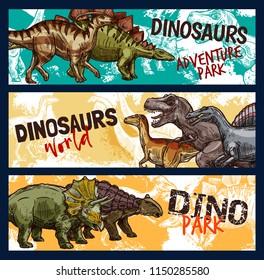 Dinosaur world banners for dino adventure park design. Jurassic monsters sketch with tyrannosaurus rex, stegosaurus and velociraptor, triceratops, diplodocus and ankylosaurus prehistoric animals